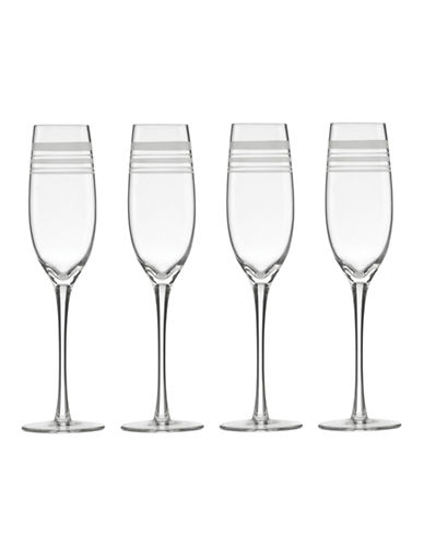 Kate Spade New York Library Stripe Set of 4 Flutes-CLEAR-One Size
