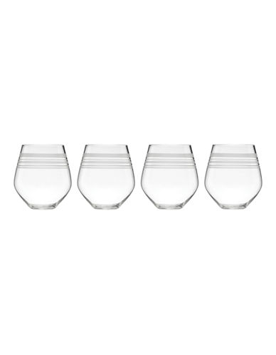Kate Spade New York Library Stripe Set of 4 Stemless Red Wines-CLEAR-One Size