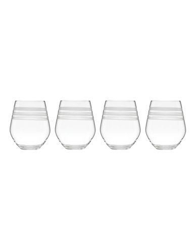Kate Spade New York Library Stripe Set of 4 Stemless White Wines-CLEAR-One Size