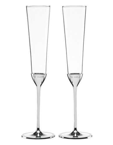 Kate Spade New York Take the Cake Toasting Flute Pair-CLEAR-One Size