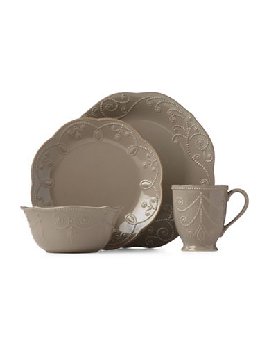 Lenox 16-Piece French Perle Dinnerware Set-BROWN-One Size