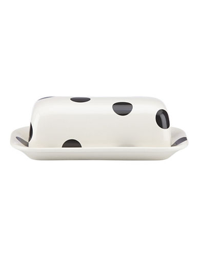 Kate Spade New York Deco Dot Butter Dish-WHITE-One Size