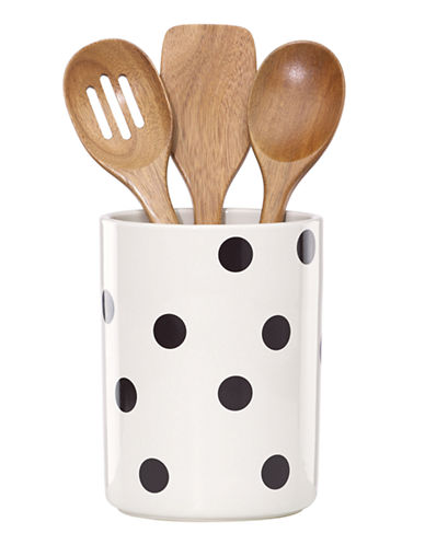 Kate Spade New York Scatter Dot Utensil Crock Set-WHITE-One Size