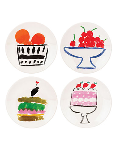 Kate Spade New York Set of Four Pretty Pantry Appetizer Plates-WHITE-One Size