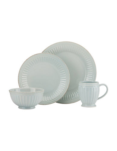 Lenox 4-Piece French Perle Scalloped Dinnerware Set-ICE BLUE-One Size