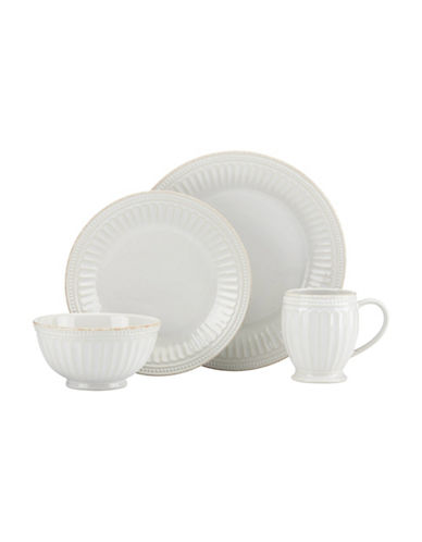 Lenox 4-Piece French Perle Scalloped Dinnerware Set-WHITE-One Size
