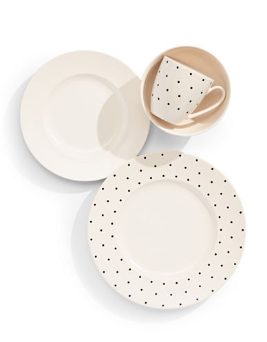 Kate Spade New York Four-Piece Larabee Dot Place Setting-WHITE-One Size