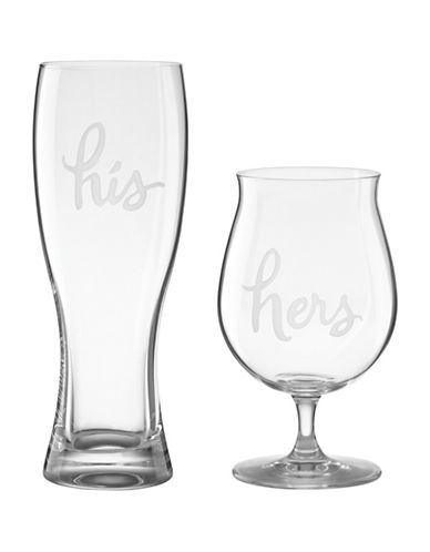 Kate Spade New York Two of a Kind Beer Glasses-CLEAR-One Size