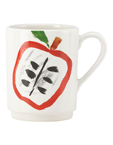 Kate Spade New York Illustrated Apple Mug-WHITE-One Size