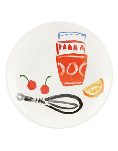 Kate Spade New York Illustrated Accent Plate-WHITE-One Size