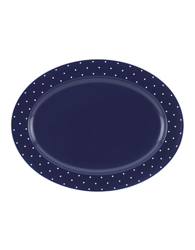 Kate Spade New York Larabee Dot Oval Platter-NAVY-One Size