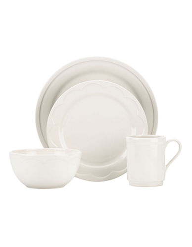 Kate Spade New York 12-Piece Scallop Dinnerware Set-WHITE-12 Piece Set