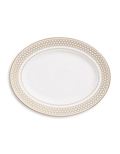 Lenox Prismatic Gold Bone China Platter 13-WHITE-One Size