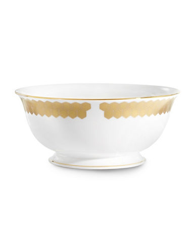 Lenox Prismatic Gold Bone China Serving Bowl-GOLD-One Size