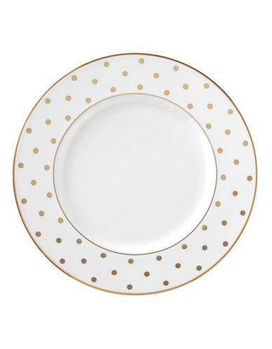 Kate Spade New York Larabee Road 9-Inch Gold Accent Plate-WHITE-One Size