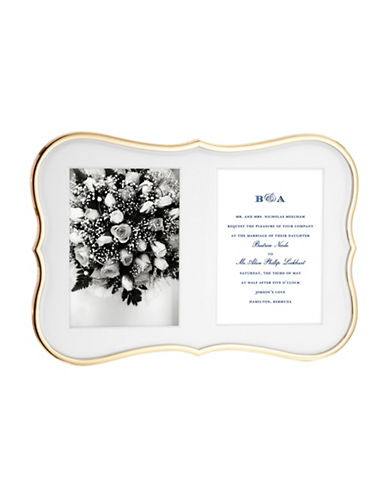 Kate Spade New York Crown Point Double Invitation Frame-GOLD-One Size