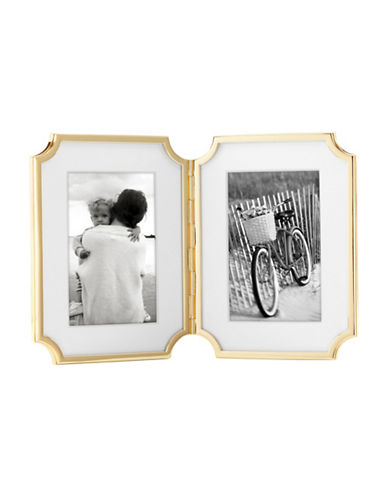 Kate Spade New York Sullivan 4x6-Inch Hinged Double Frame-GOLD-One Size