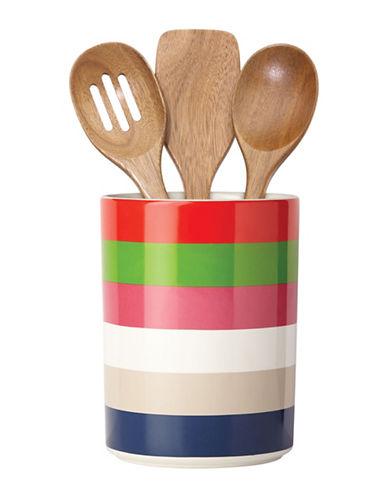 Kate Spade New York All in Good Taste Four-Piece Rainey Striped Utensil Crock Set-BLUE-One Size