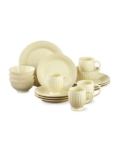 Lenox 16-Piece French Perle Groove Dinnerware Set-YELLOW-One Size