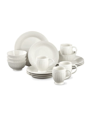 Lenox 16-Piece French Perle Groove Dinnerware Set-WHITE-One Size