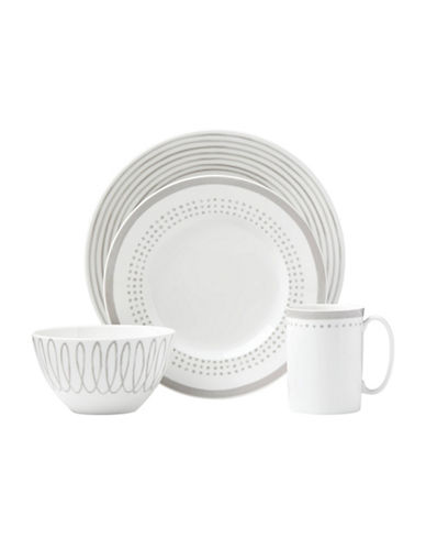 Kate Spade New York Charlotte St East Four-Piece Place Setting-WHITE/GREY-One Size
