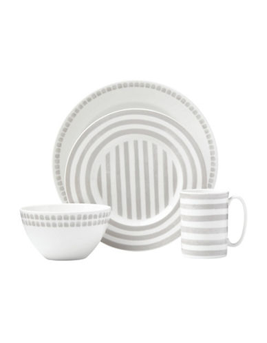 Kate Spade New York Charlotte St North Four-Piece Place Setting-WHITE/GREY-One Size
