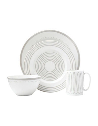 Kate Spade New York Charlotte St West Four-Piece Dinnerware Set-WHITE/GREY-One Size