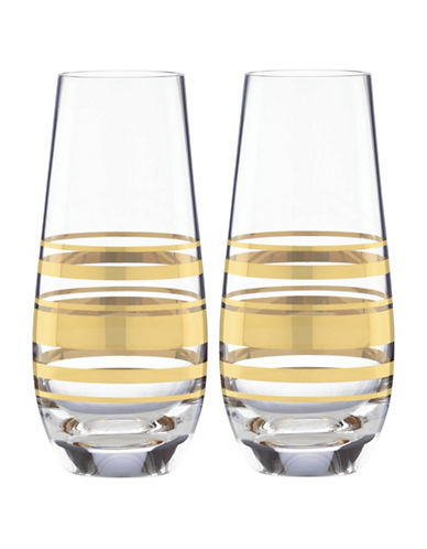 Kate Spade New York Hampton Street Stemless Champagne Two-Glass Set-GOLD-One Size
