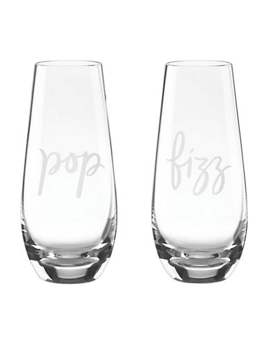 Kate Spade New York Two Of A Kind Stemless Champagne Glasses Set-CLEAR-One Size