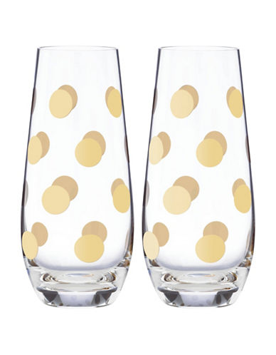 Kate Spade New York Pearl Place Stemless Champagne Two-Glass Set-GOLD-One Size