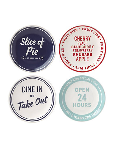 Kate Spade New York Orders Up Set of Four Tidbits Plates-ASSORTED-One Size