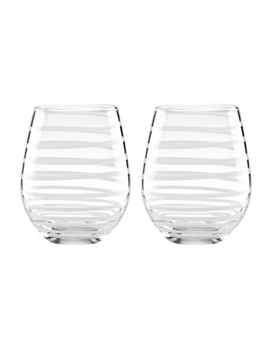 Kate Spade New York Charotte Stemless Wine Glasses-WHITE-One Size