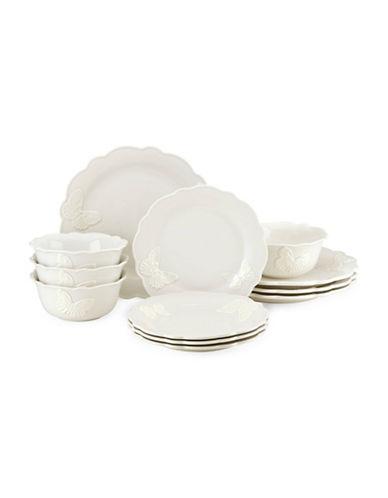 Lenox 12-Piece Butterfly Meadow Dinnerware Set-WHITE-One Size