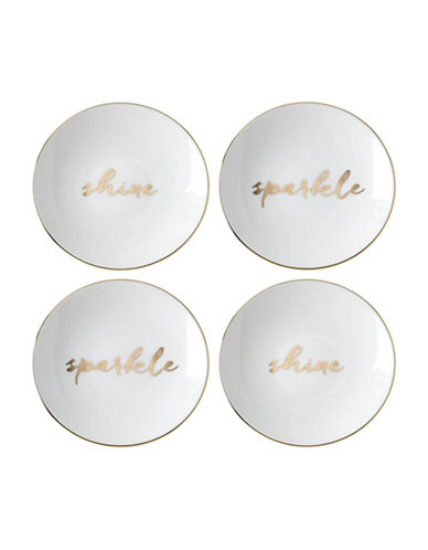 Kate Spade New York Oh What Fun Sparkle and Shine Tidbit Plates-WHITE/GOLD-One Size