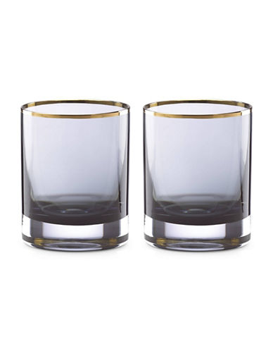 Kate Spade New York South Street Double Old Fashioned Glasses Set of Two-SMOKE-One Size