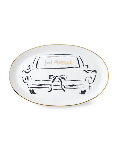 Kate Spade New York Bridal Party Oblong Dish-WHITE/GOLD-One Size