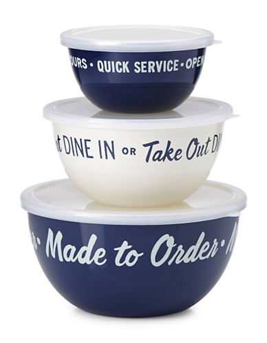 Kate Spade New York All in Good Taste Serve and Store Bowls Set-NAVY/WHITE-2.9L