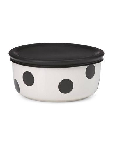Kate Spade New York All in Good Taste Deco Dot 16 oz. Lidded Bowl-WHITE/BLACK-One Size