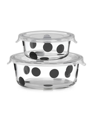 Kate Spade New York All in Good Taste Serve and Store Round Two-Piece Set-CLEAR/BLACK-One Size