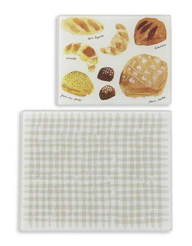 Kate Spade New York Two-Piece Gingham Glass Prep Board Set-BEIGE-One Size