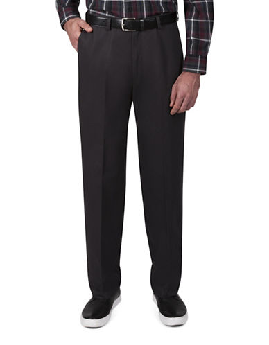 Haggar Classic-Fit Khaki Pants-DARK GREY-34X32