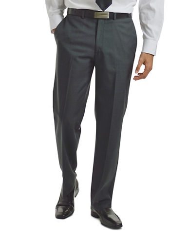 Haggar Wool Blend Flat Front Pants-GREY-42X37 87372768_GREY_42X37