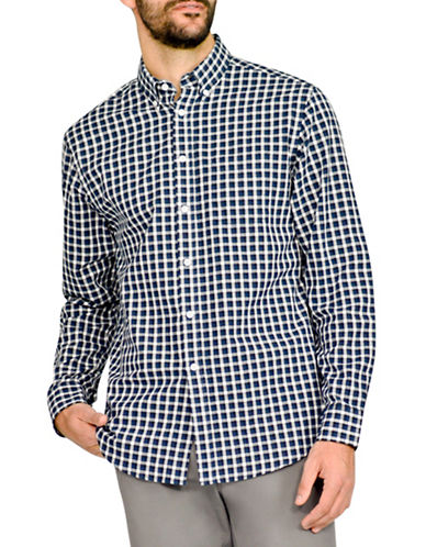 Haggar Heritage Herringbone Plaid Shirt-BLUE-Large