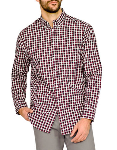 Haggar Heritage Herringbone Plaid Shirt-BURGUNDY-Large