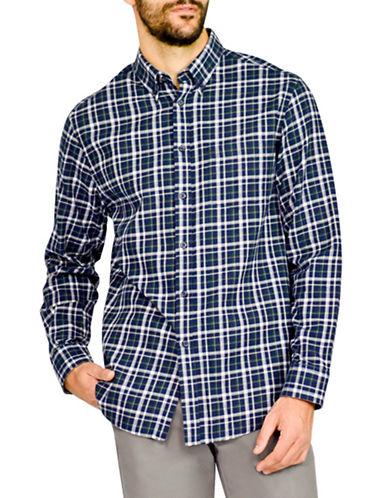 Haggar Heritage Twill Check Shirt-NAVY-Small