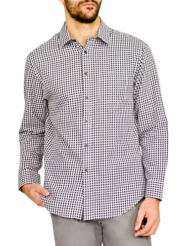 Haggar Heritage Twill Check Shirt-NAVY-Small