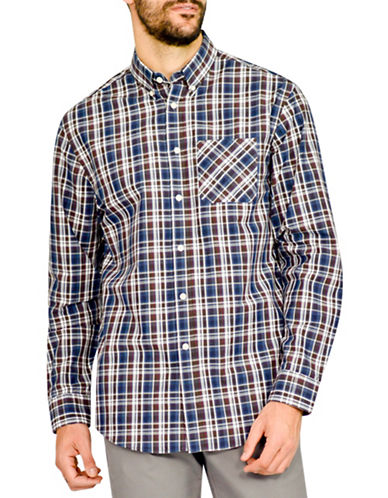 Haggar Heritage Bright Plaid Shirt-NAVY-Large
