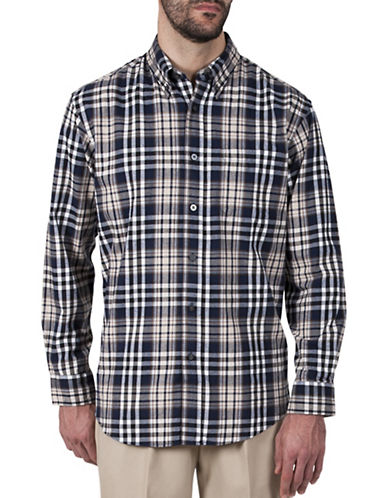 Haggar Big and Tall Multi-Plaid Cotton Flannel Shirt-NAVY-2X Tall