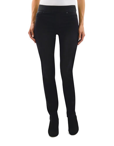 Haggar Petite Pull-On Dream Jeans-BLACK-Petite 10