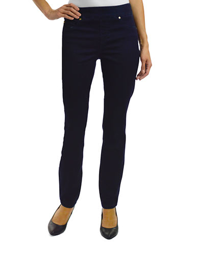 Haggar Petite Pull-On Dream Jeans-MIDNIGHT-Petite 14
